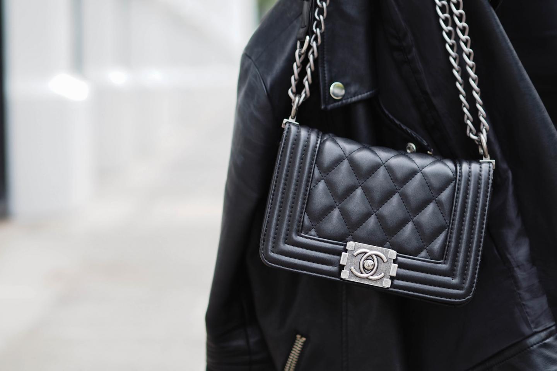 Chanel black leather boy bag small, black leather biker jacket