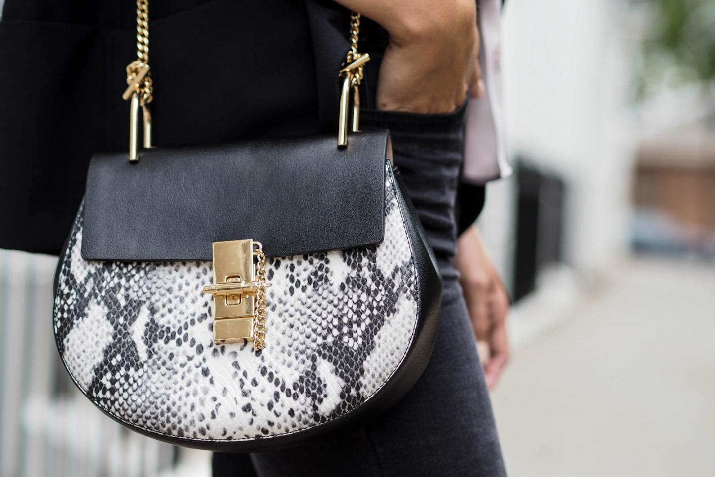 EJSTYLE wears Black grey white snakeskin Chloe Drew dupe bag from Jessica Burrman