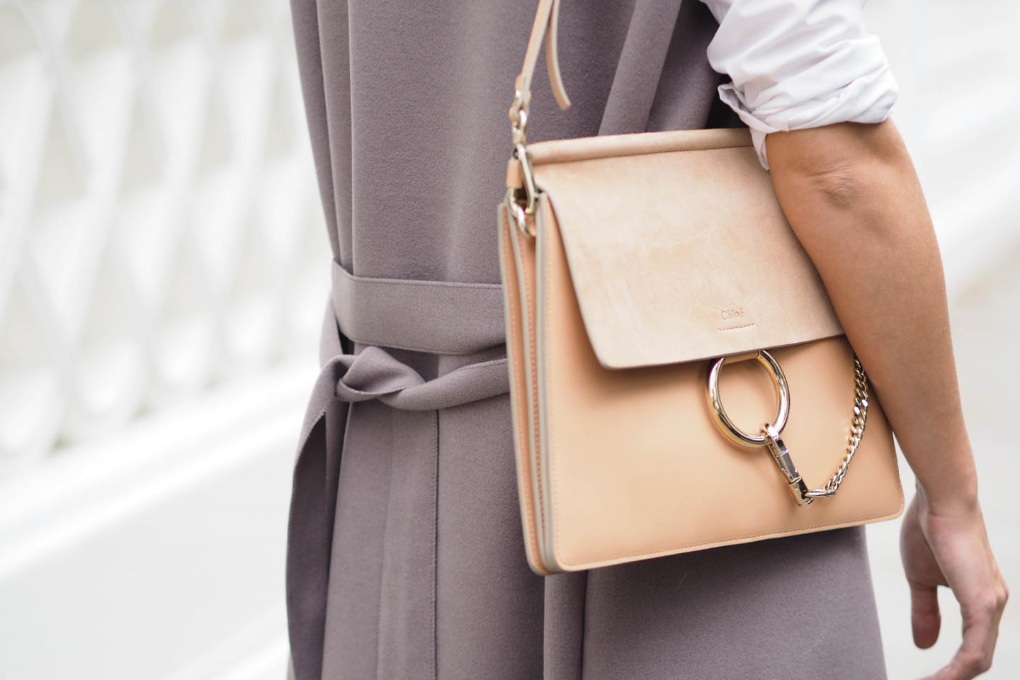 EJSTYLE wears Misty Beige Chloe Faye bag, taupe sleeveless coat, white shirt,