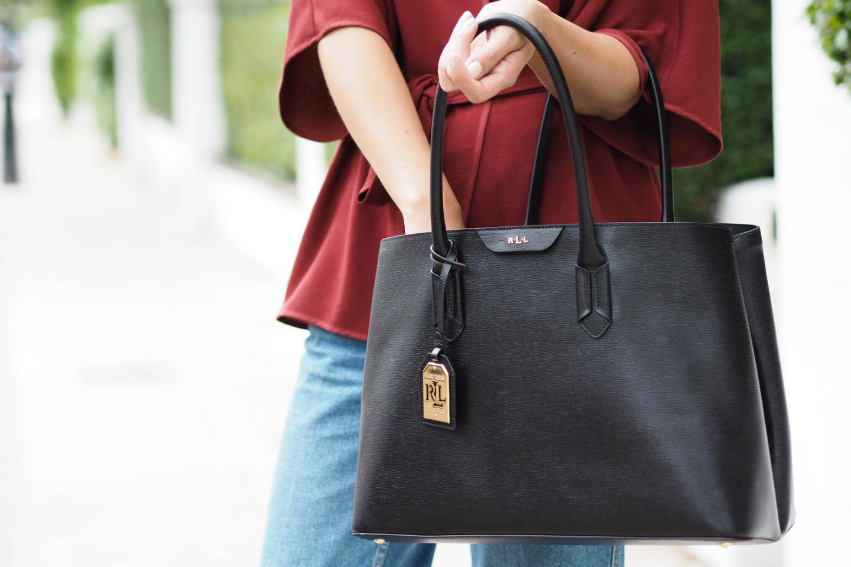 EJSTYLE wears Ralph Lauren black leather city tote bag, dark red wrap jacket, topshop wide leg jeans