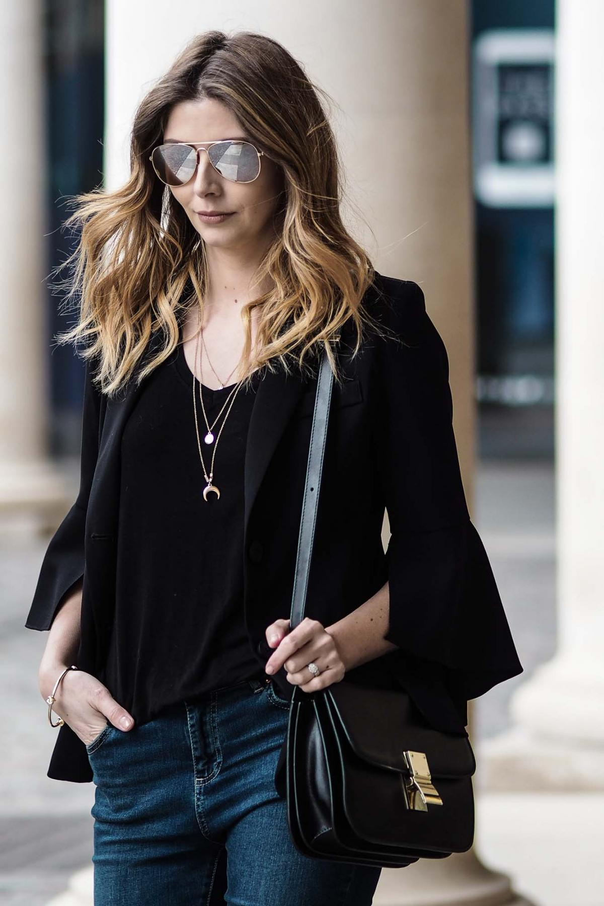 gold layered necklaces, bell sleeve black blazer, basic t shirt, celine box bag