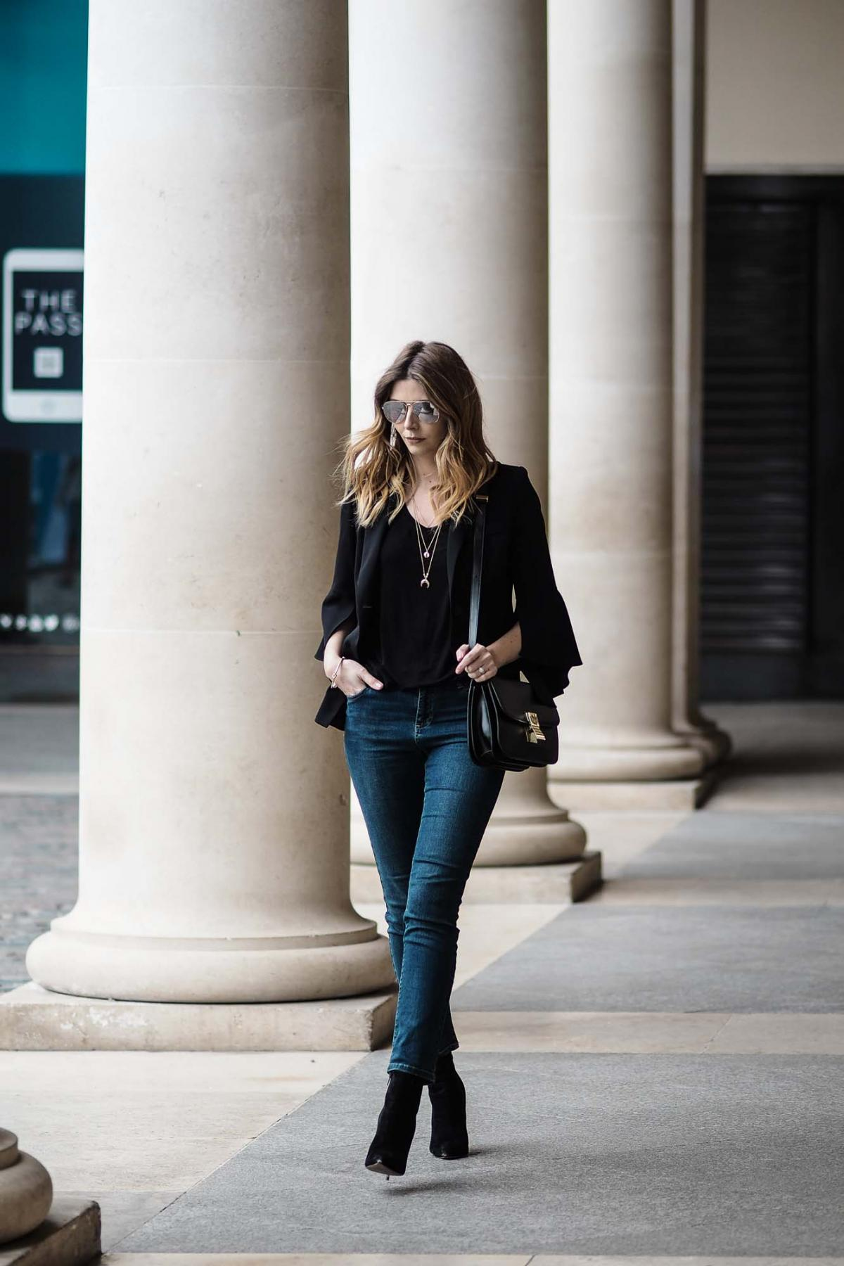 black bell sleeve blazer, celine box bag, straight leg jeans, chic outfit