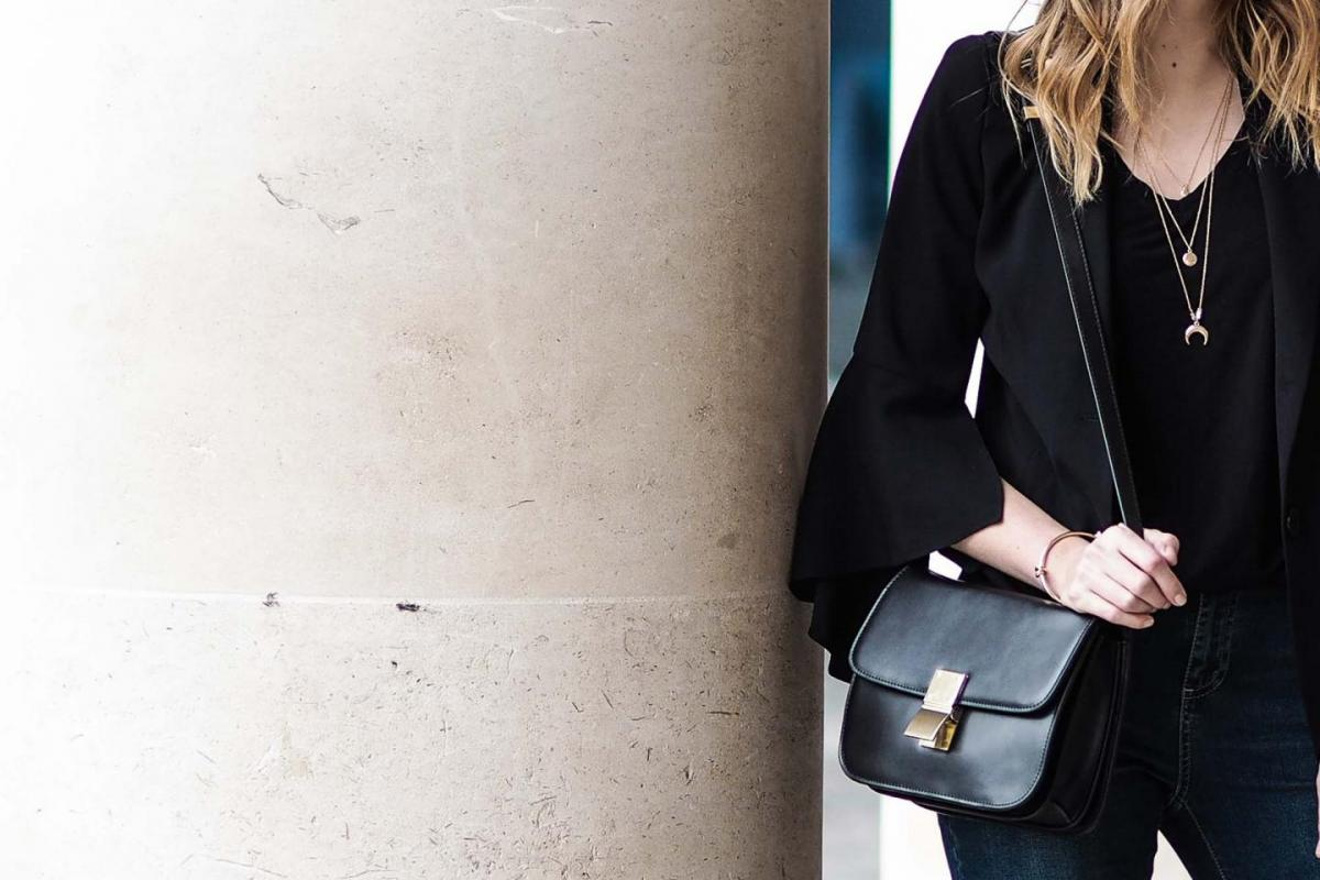 black celine box bag, flared sleeves