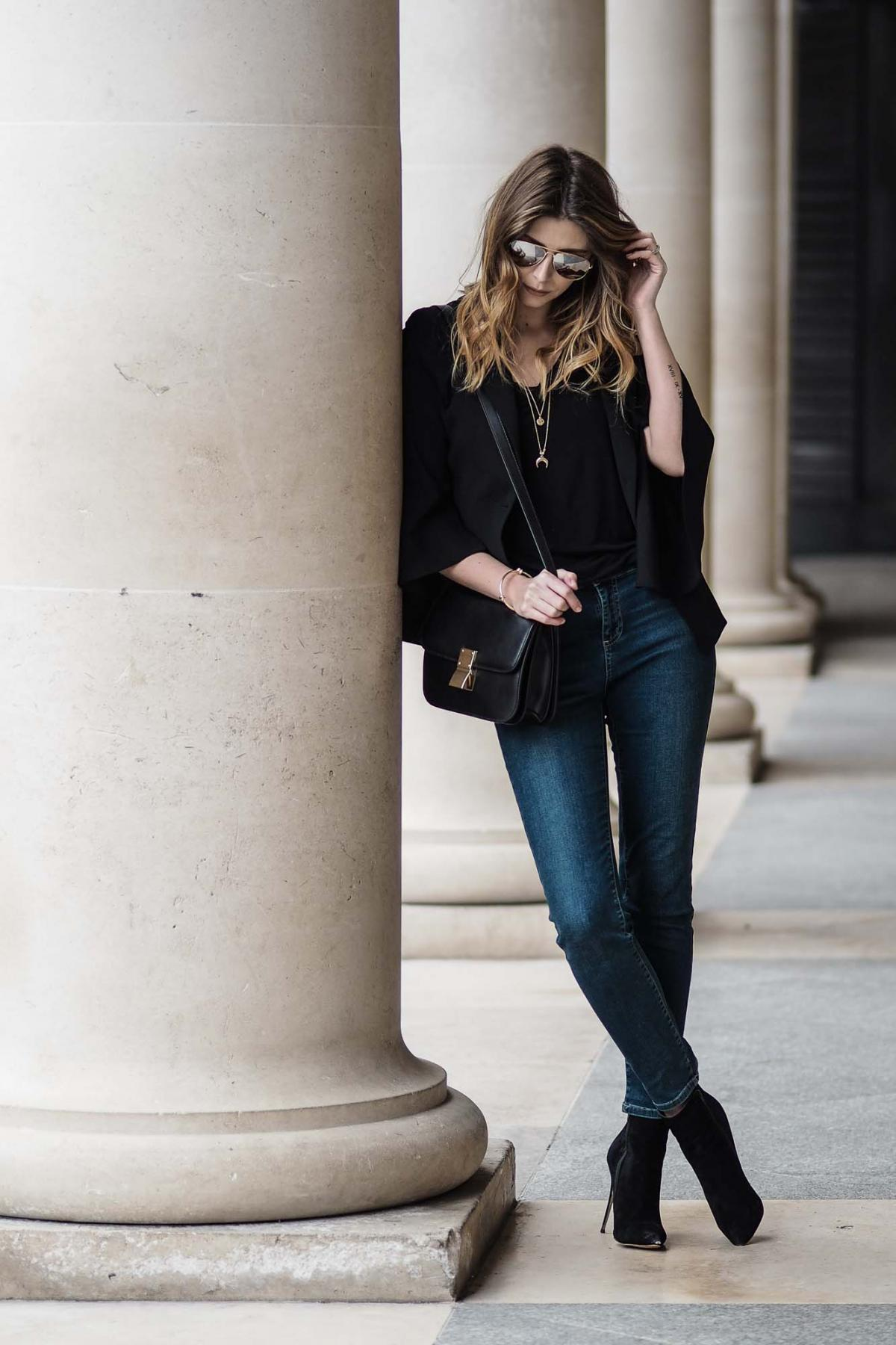 black blazer, straight cut jeans, celine box bag, ankle boots