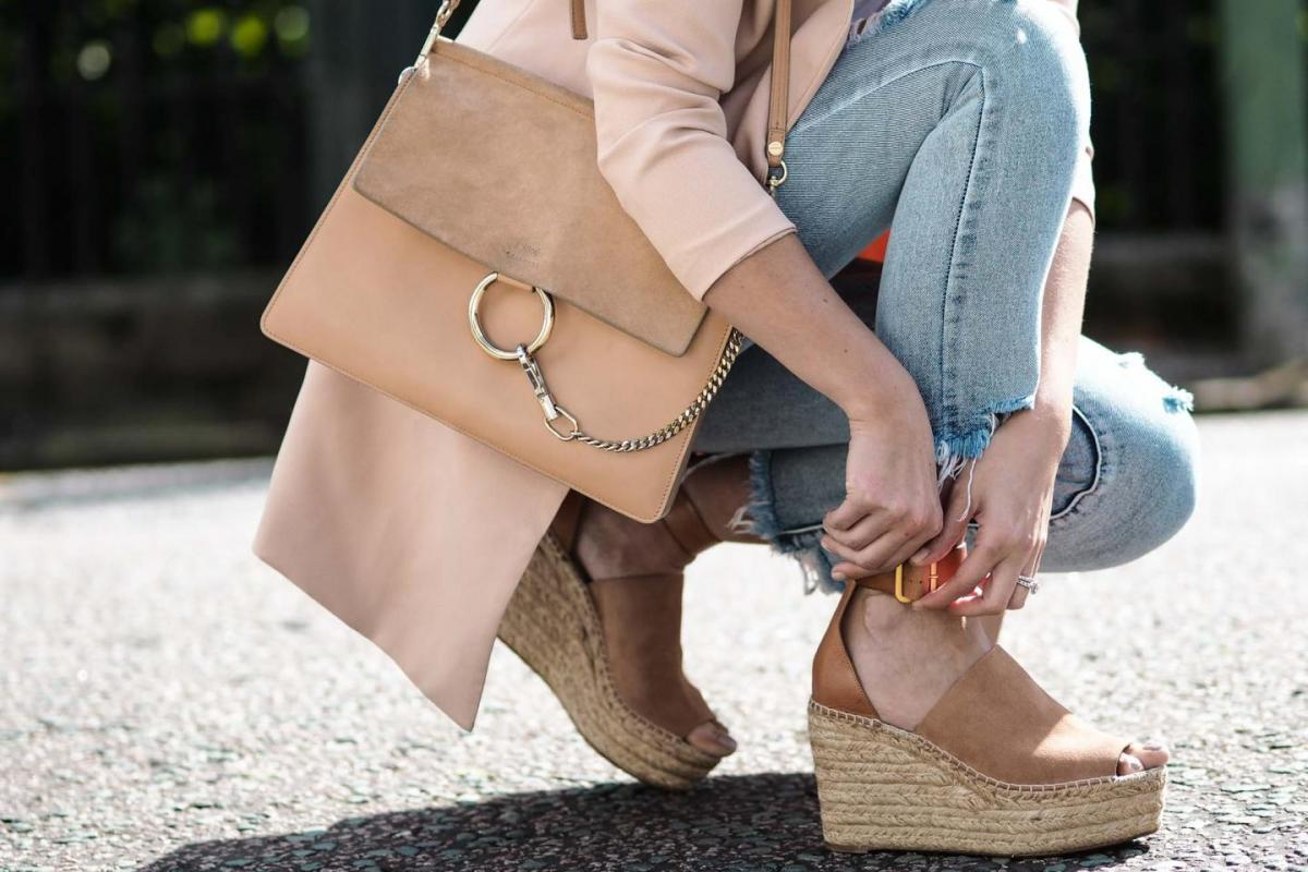 chloe girls, wedge espadrilles, Faye bag in beige