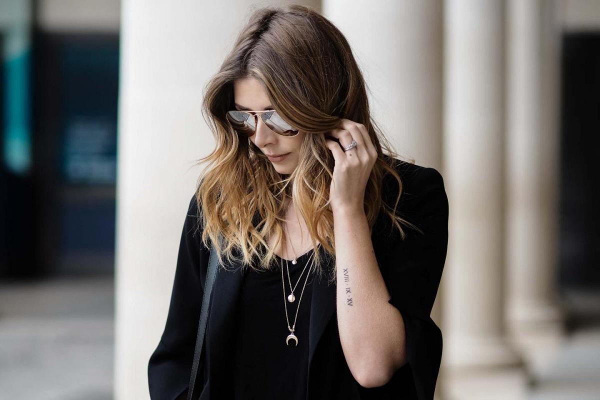 wedding date tattoo, gold layered necklaces, black outfit