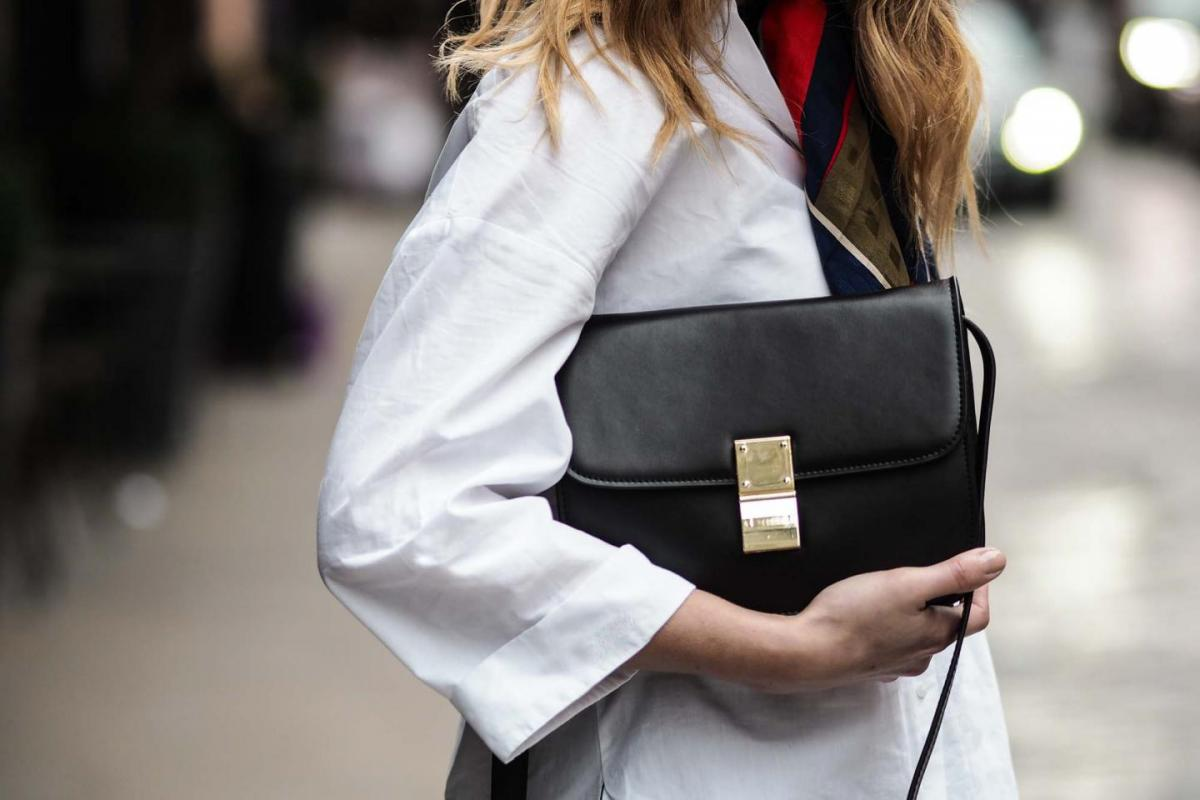 Celine box bag, white shirt, silk scarf, street style