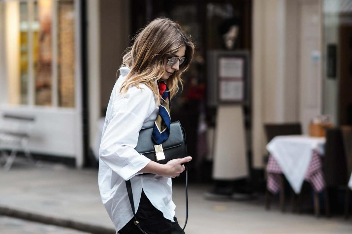 white shirt, silk scarf neckerchief, celine box bag, street style