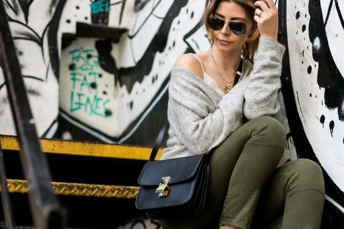 grey jumper, lace cami, celine box bag, khaki trousers