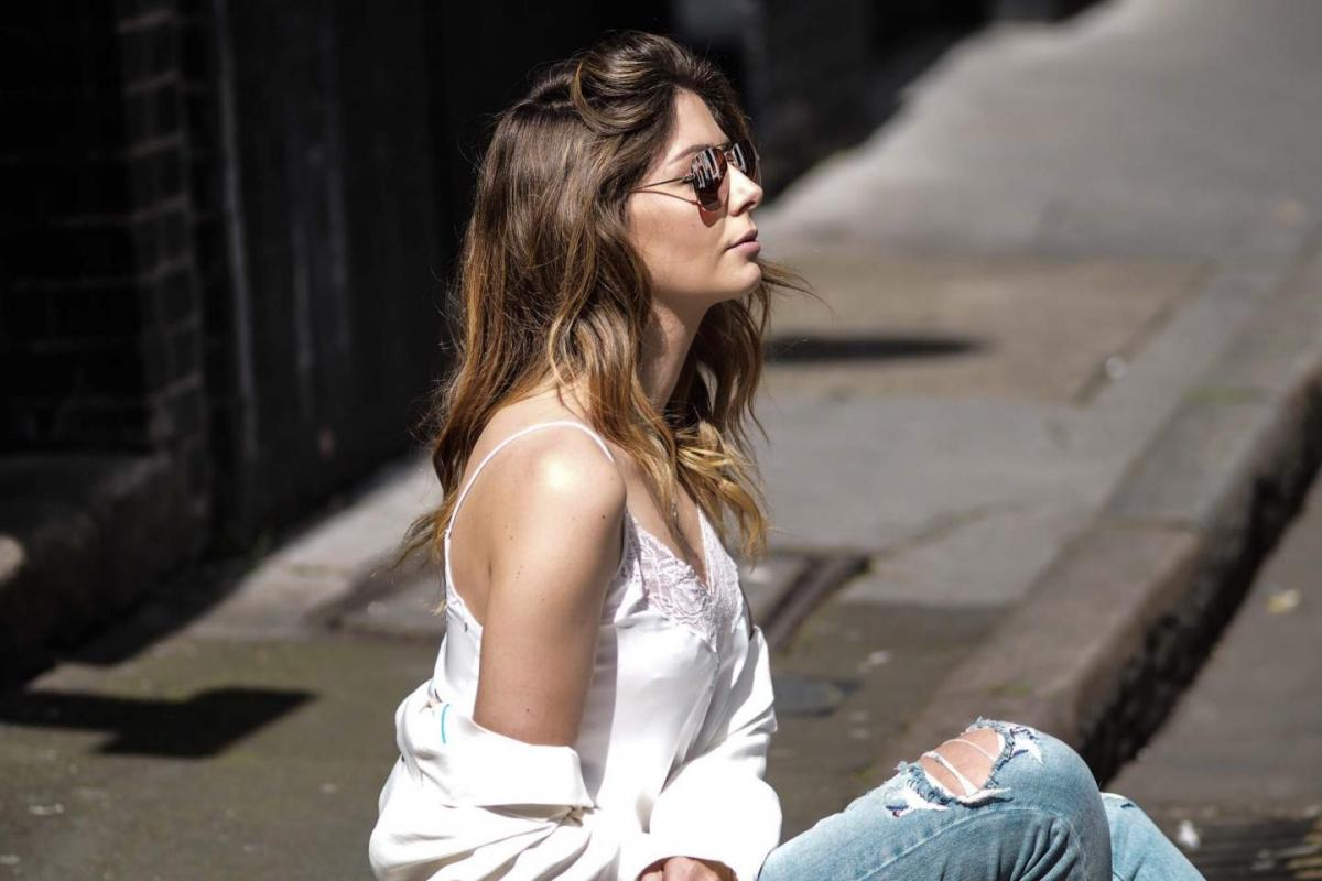 white lace trim camisole, ripped jeans