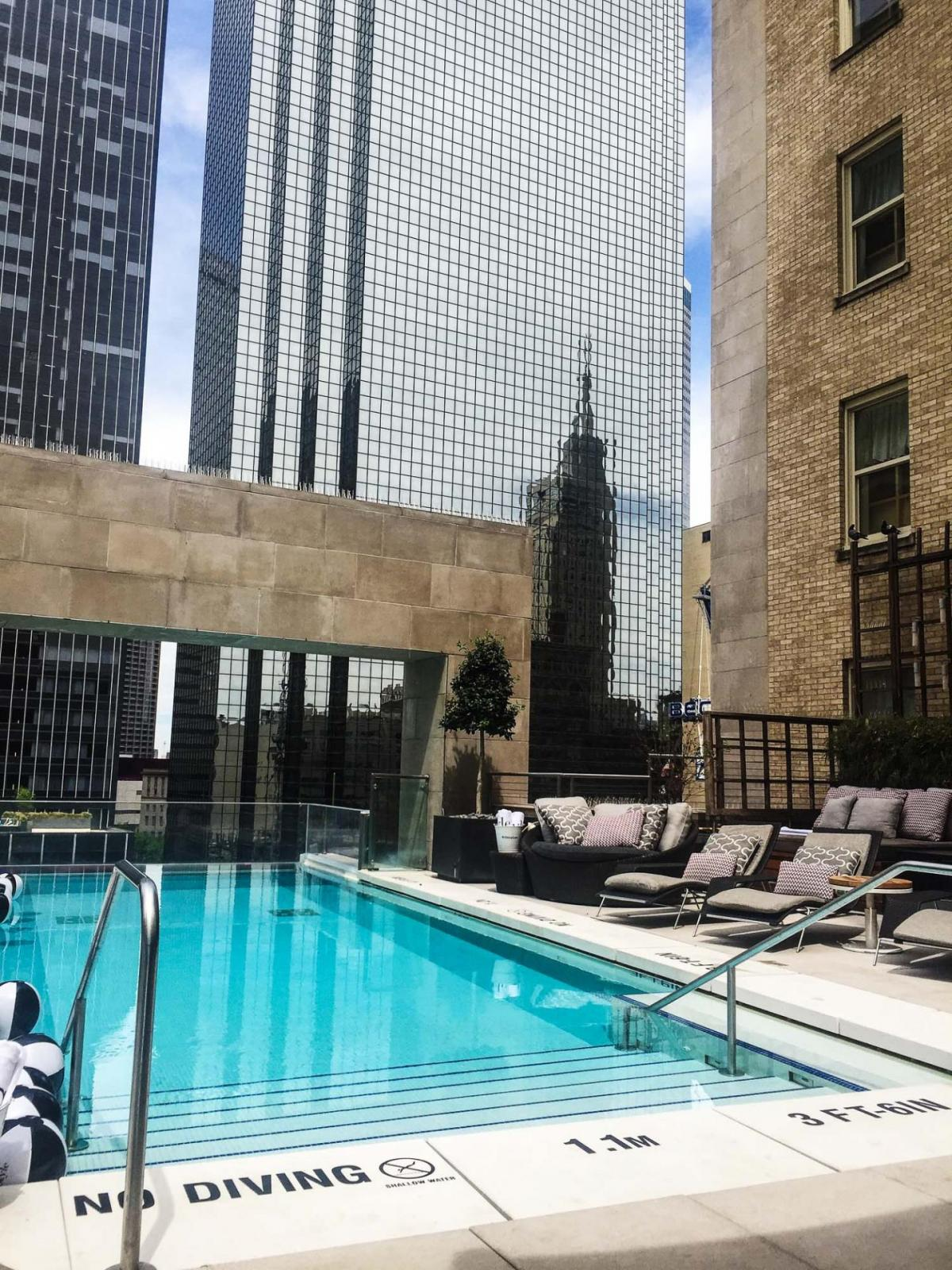 the rooftop pool at the Joule Dallas Texas