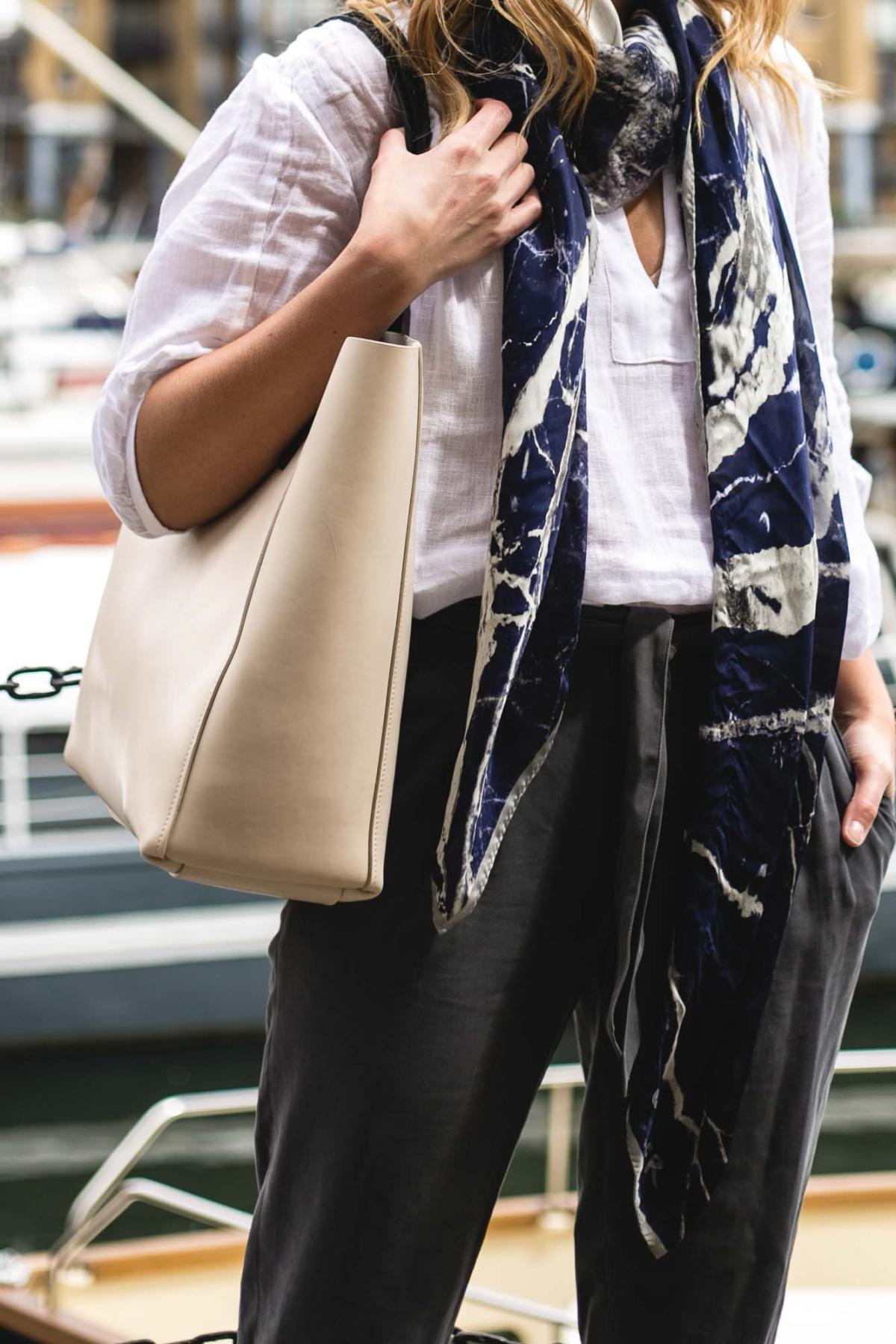 Jaeger off white blazer, grey trousers, silk scarf in blue print, white linen shirt, chic work outfit