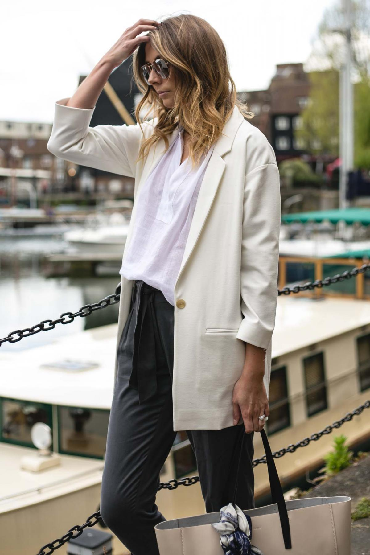 Jaeger off white blazer, grey trousers, white linen shirt, chic work outfit