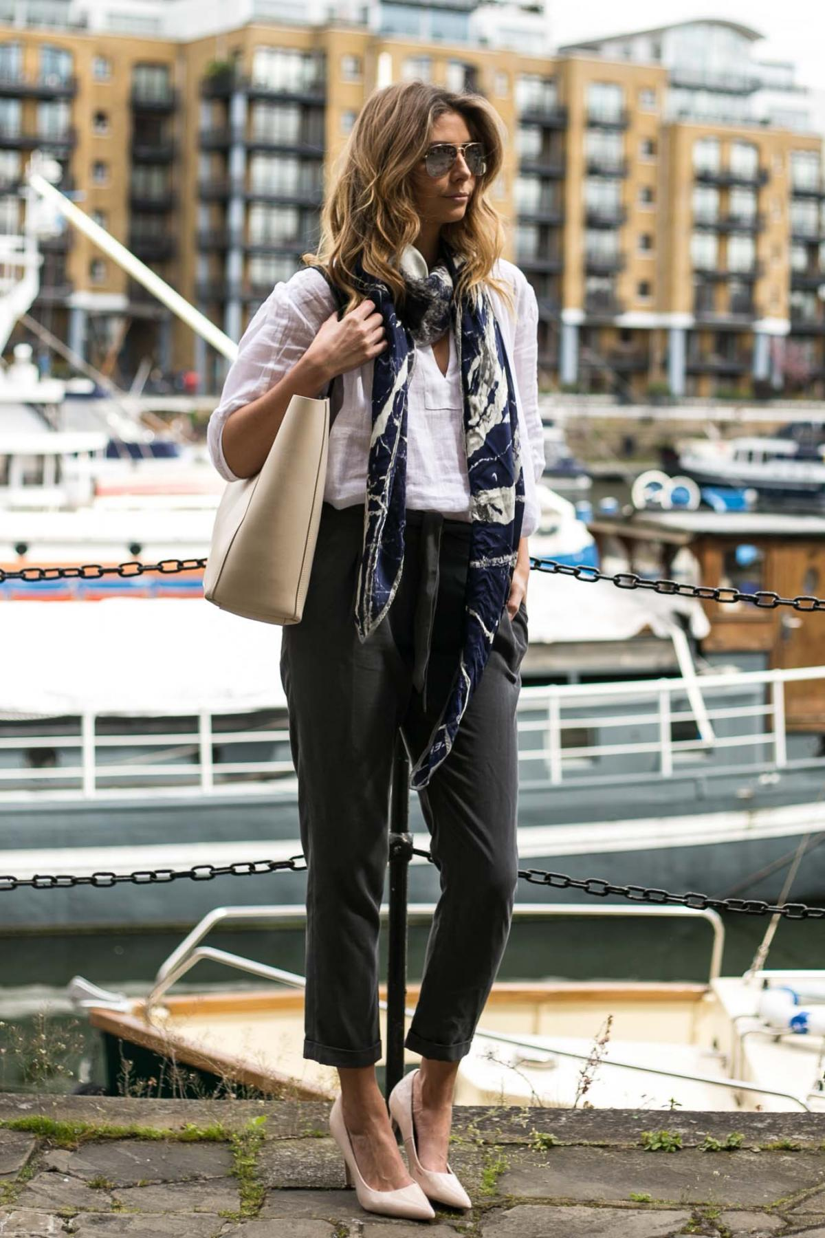 Jaeger white linen shirt, blue print silk scarf, cream lether tote bag, grey peg leg trousers, nude court shoes