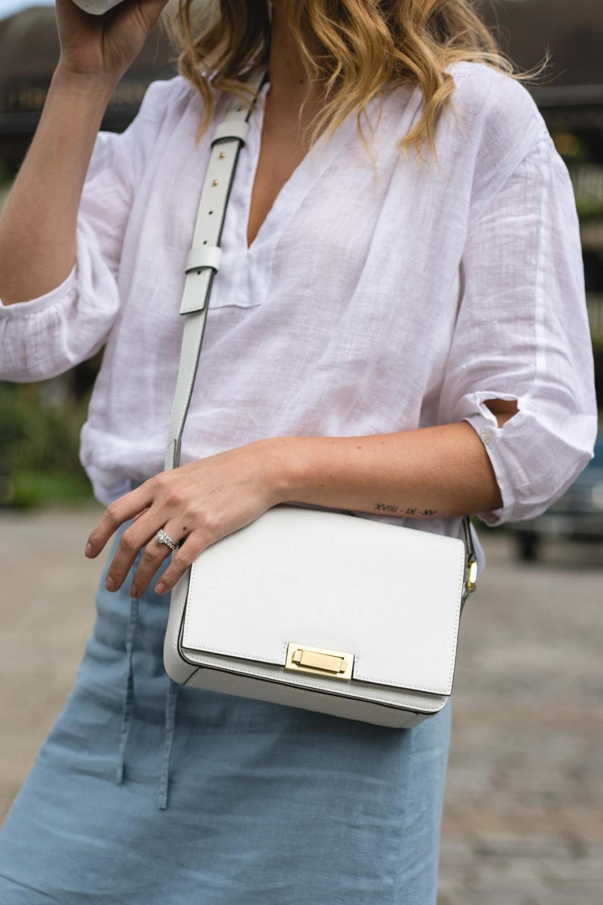 Jaeger white linen shirt, white cross body bag, casual weekend outfit