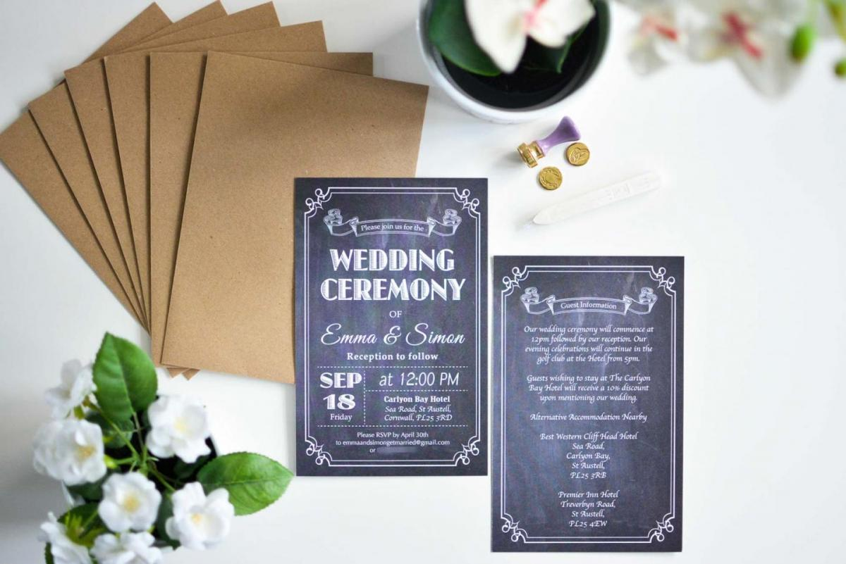 affordable chalkboard wedding invitations, kraft paper envelopes