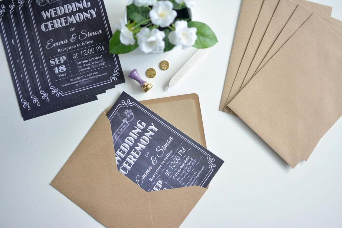 affordable chalkboard wedding invitations