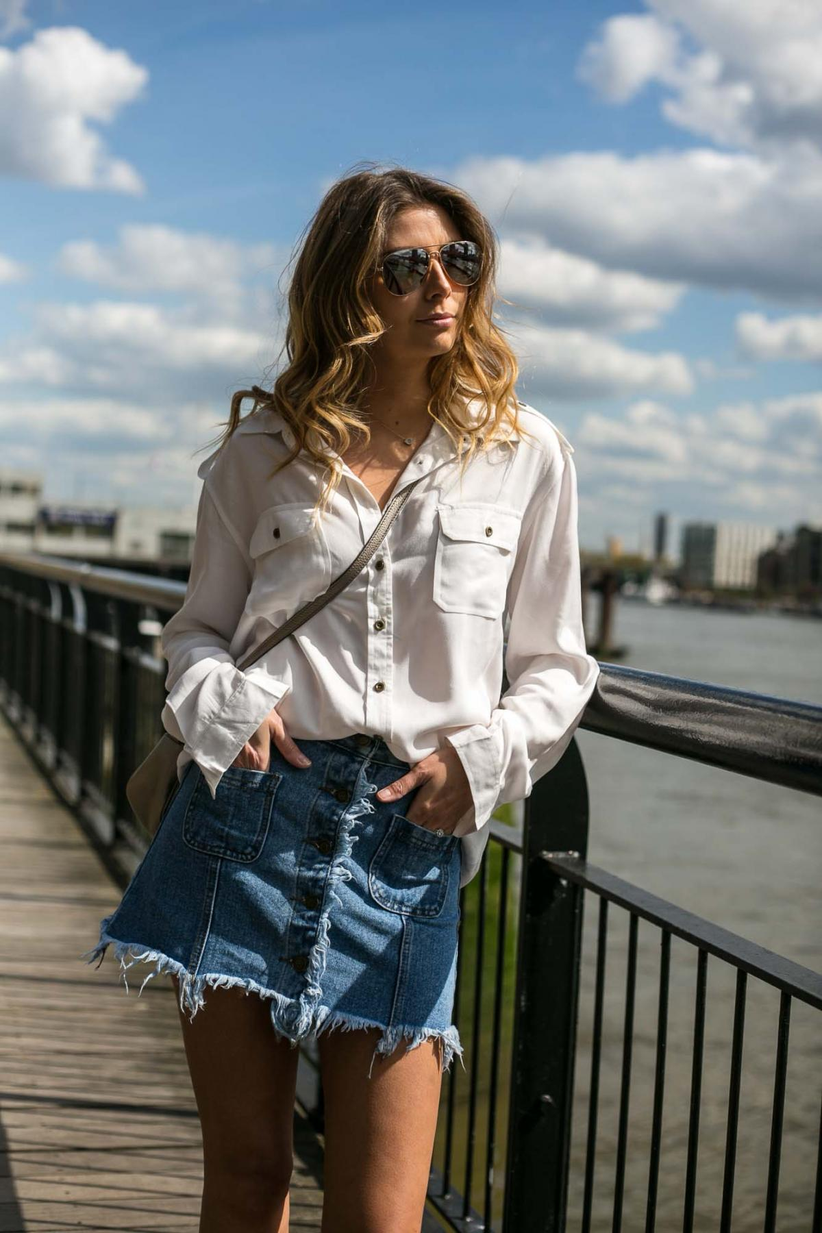 frayed denim skirt, white military shirt, summer outfit