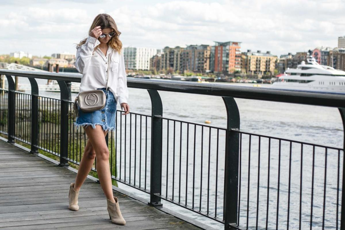 frayed denim skirt, white shirt Gucci soho disco bag, beige suede ankle boots