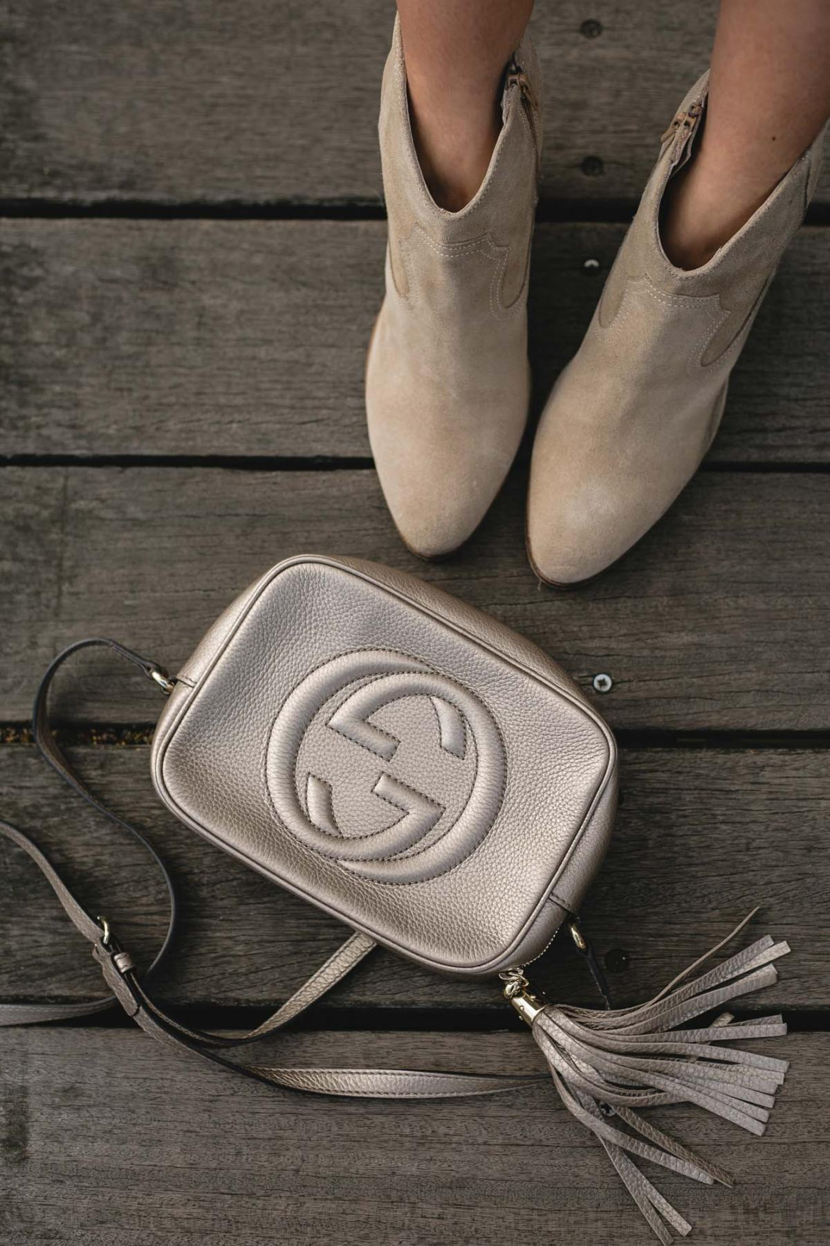 metallic gucci disco soho bag, beige suede ankle boots