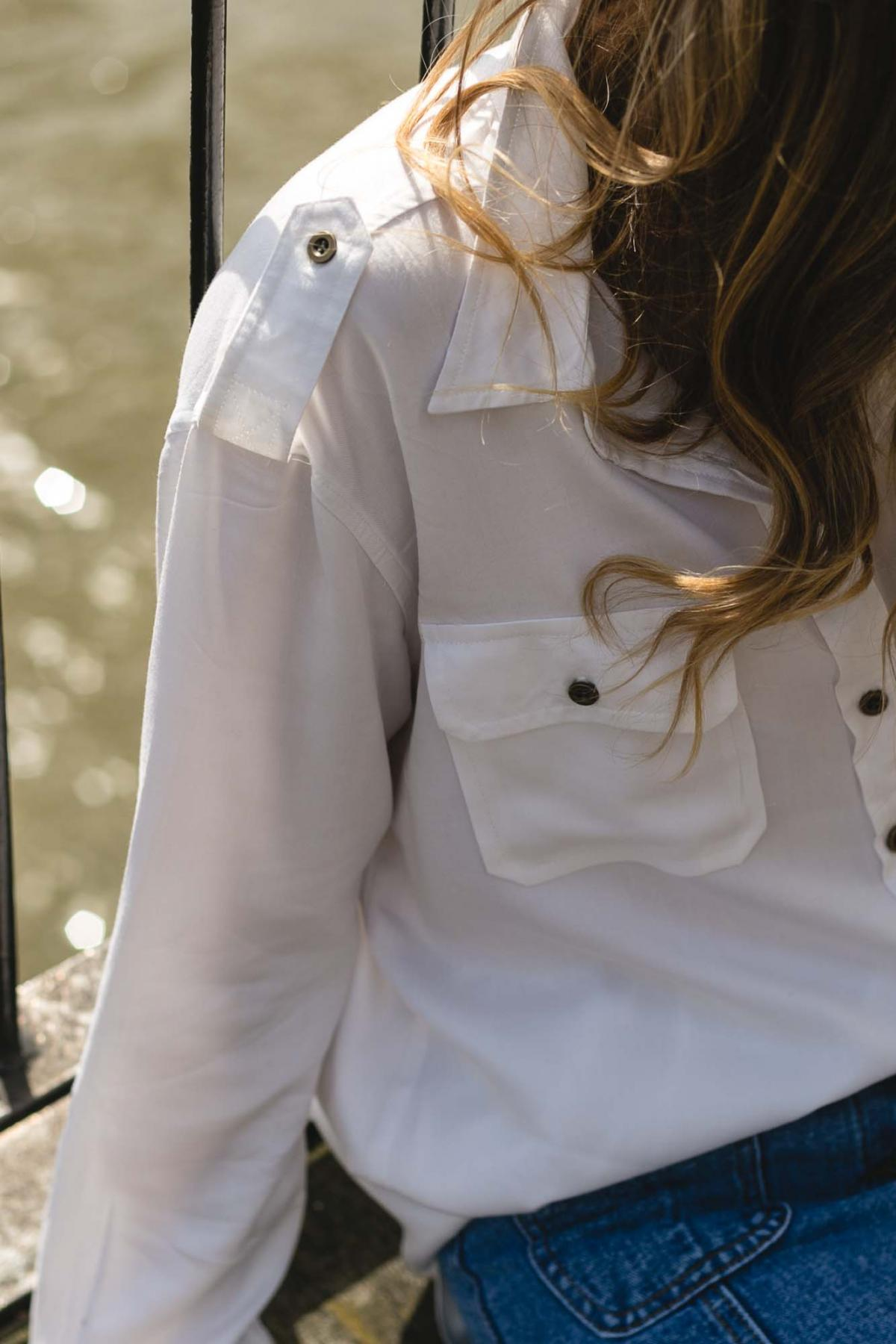 white button military shirt