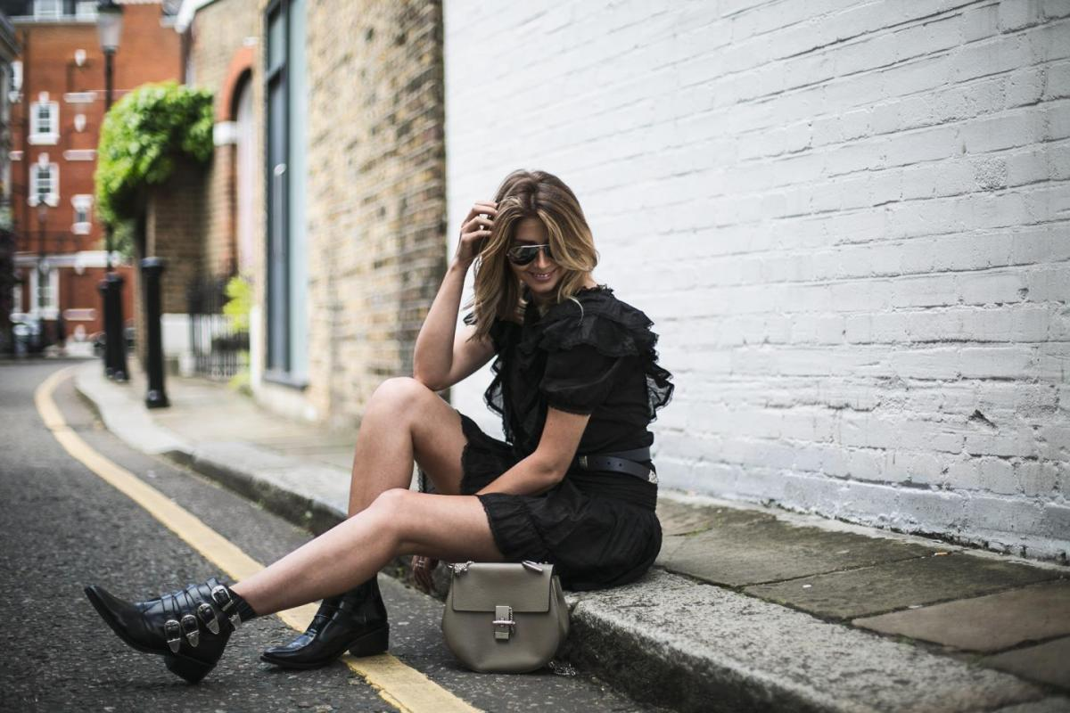 Black Isabel Marant Etoile mini dress, double buckle belt, Grey Chloe drew bag, Toga Pulla boots, Ray Bans, summer outfit