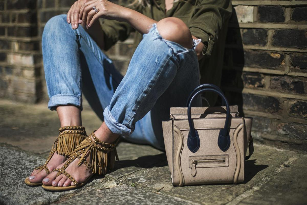 Saint Laurent tan fringe sandals, levis ripped 501 boyfriend jeans, celine nano, khaki shirt