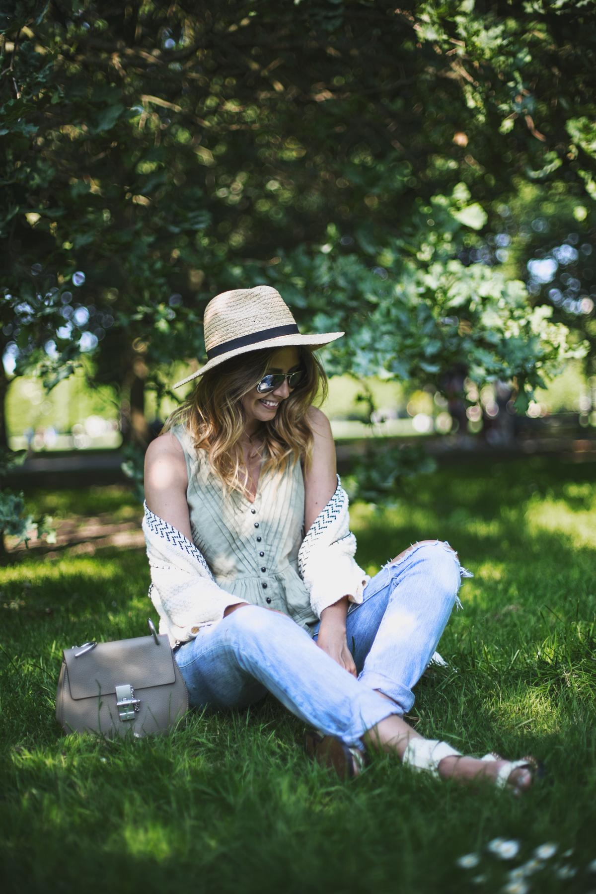 Summer outfit, ripped jeans, khaki ruffle top, cream cardigan, grey chloe drew bag, Isabel Marant sandals, picnic in the park outfit