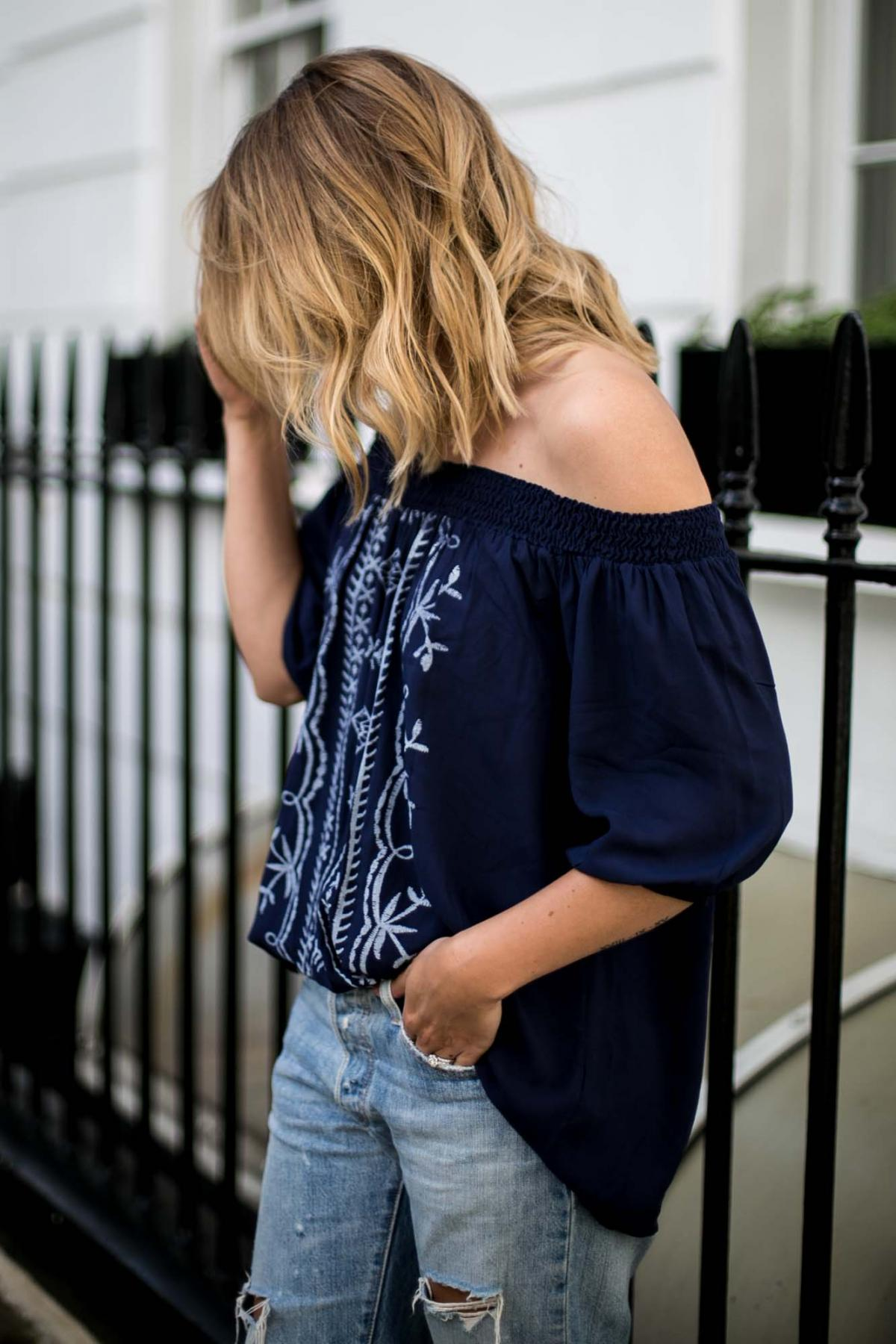 balayage beach waves hair, long bob, lob hair style, bronde, off shoulder navy top, ripped boyfriend jeans