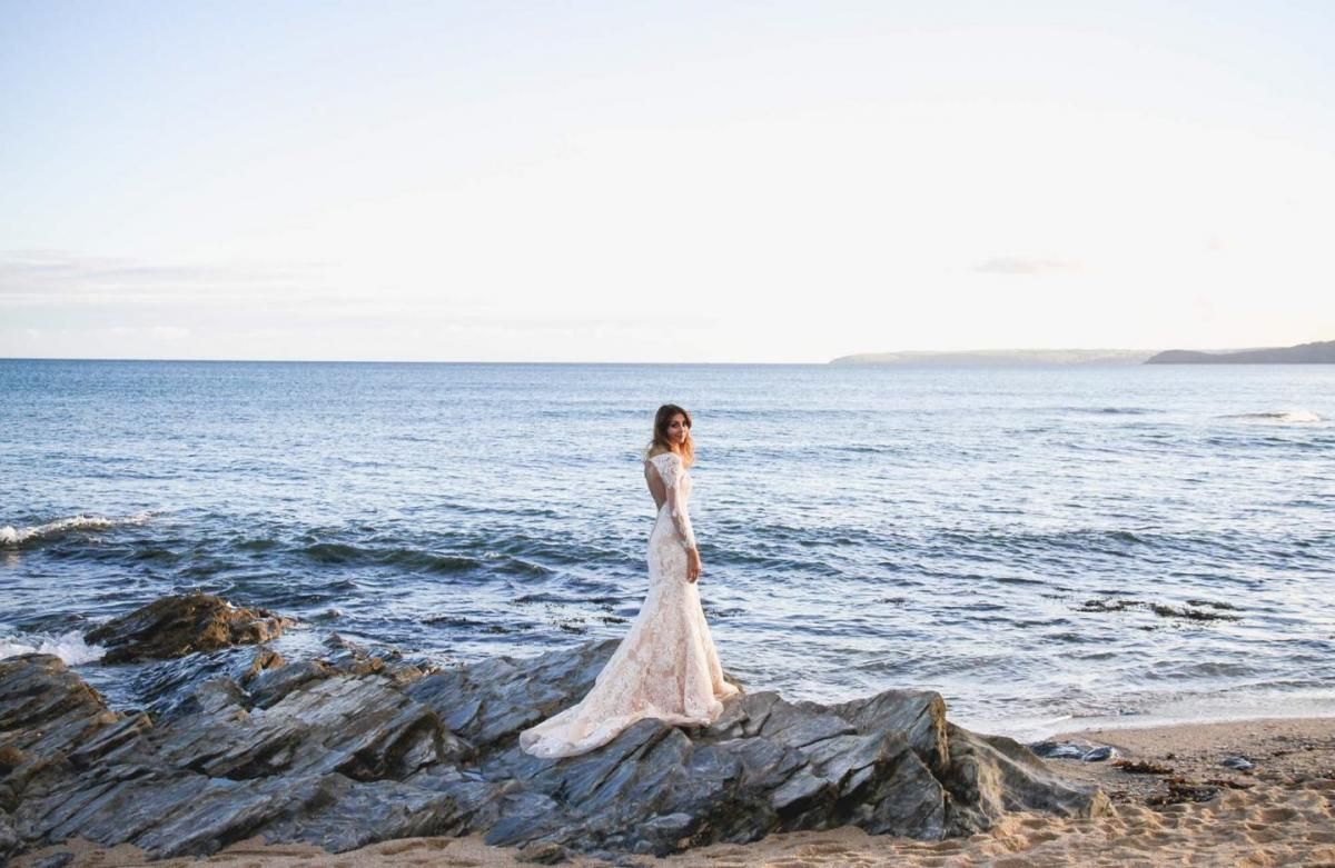 beach wedding photography, bride, long sleeve backless lace wedding dress