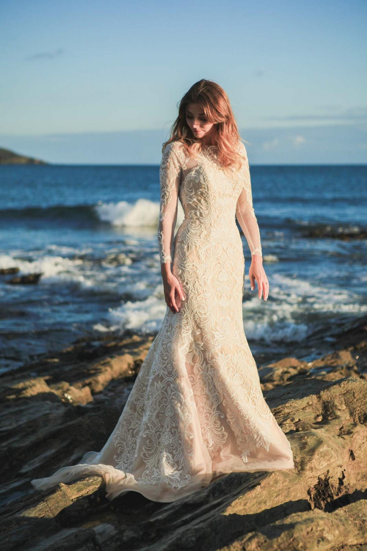 beach wedding photography, bride, long sleeve lace wedding dress