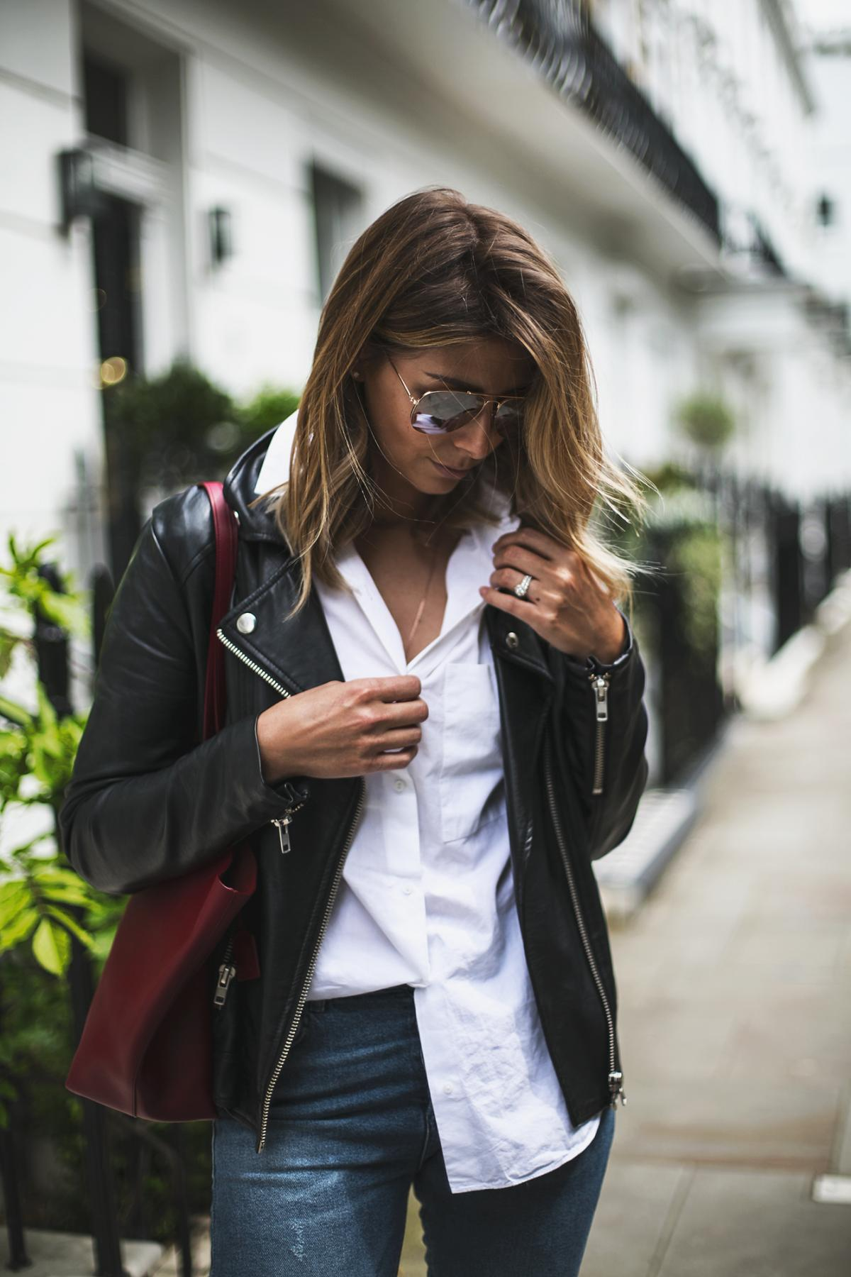 black biker jacket, white shirt, skinny jeans, red saint laurent tote bag, ray-ban aviators