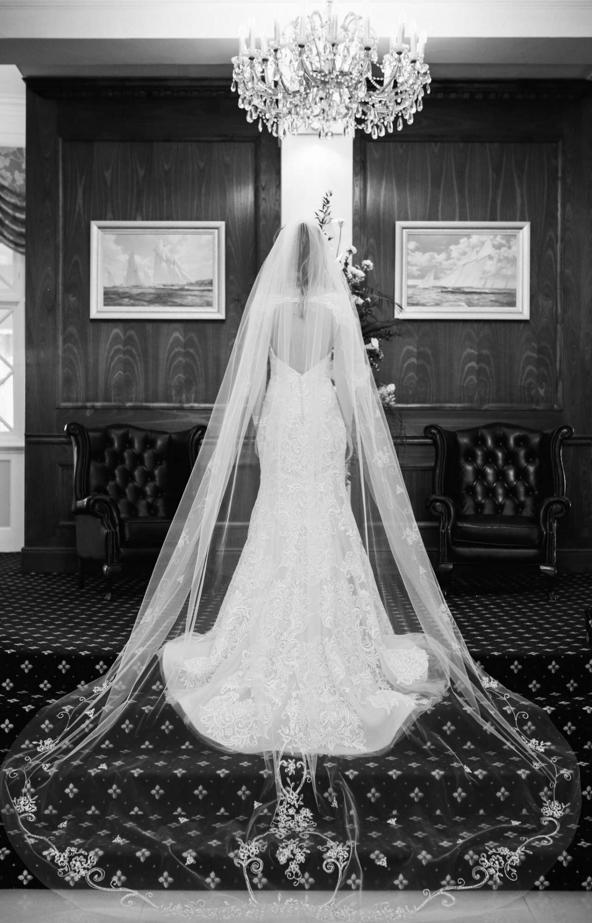 black white wedding photography, cathedral length veil, backless lace wedding dress