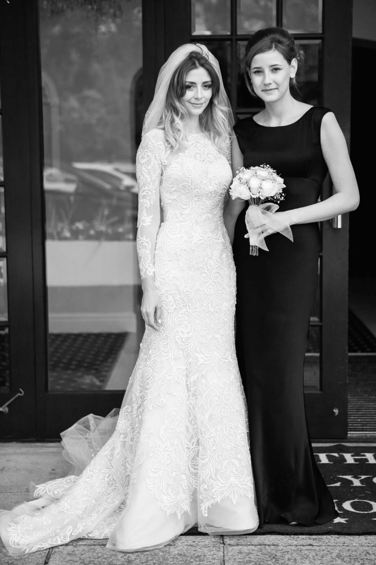 bride, single bridesmaid, lace long sleeve wedding dress, black white wedding photography