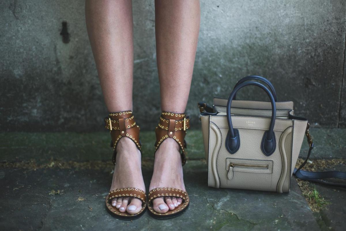 isabel marant tan leather sandals, celine nano bag