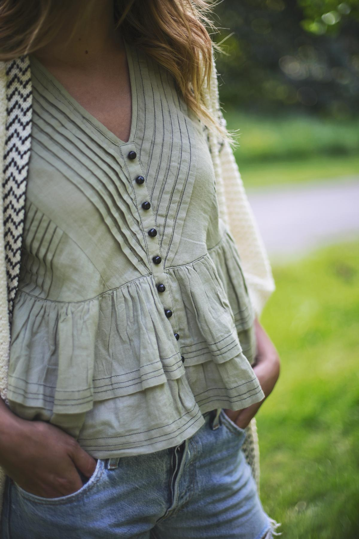 khaki ruffle button up top