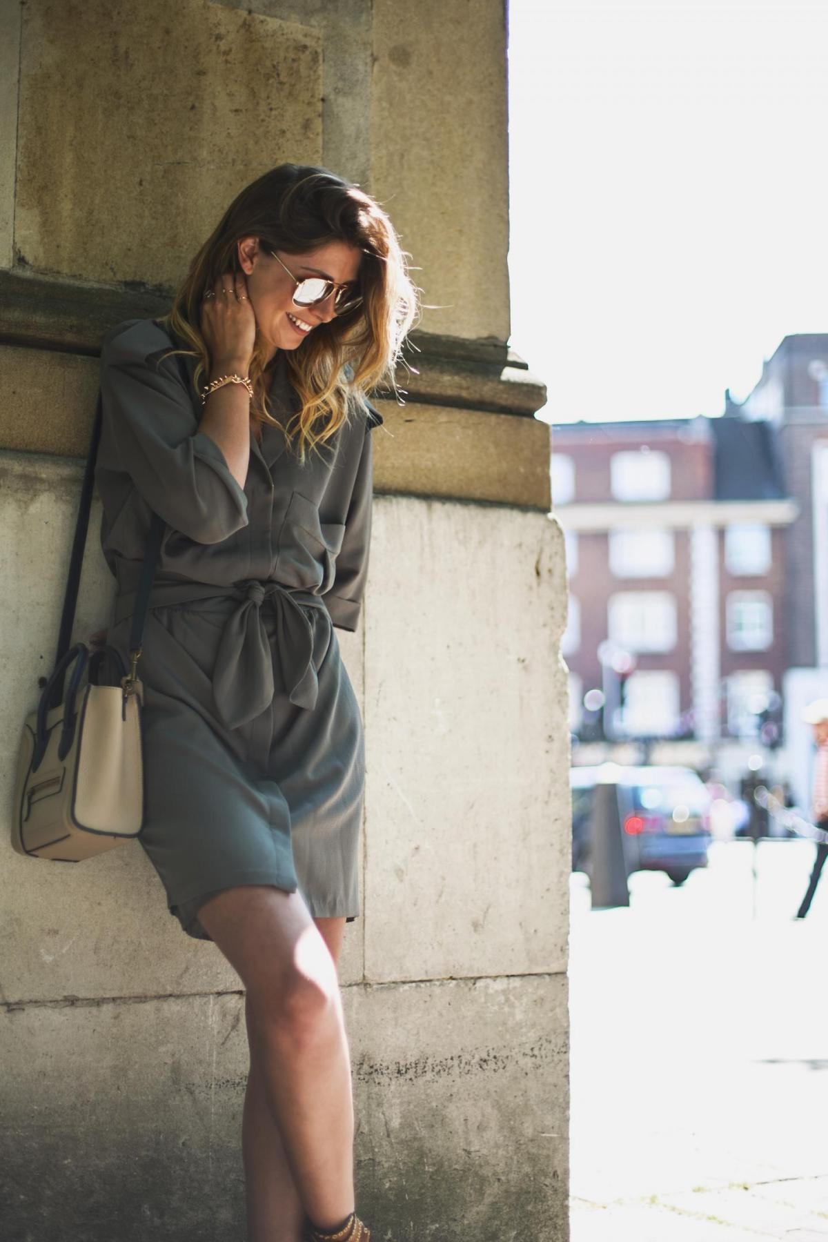 khaki shirt dress, celine nano, aviator sunglasses