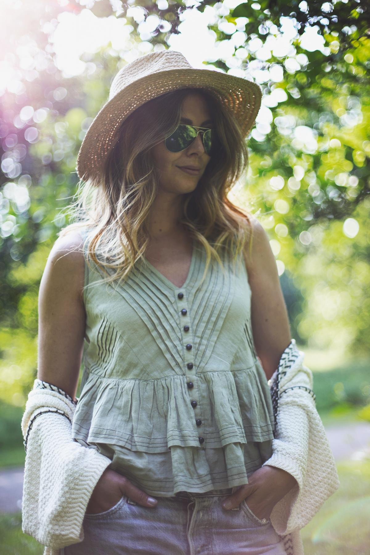 straw fedora hat, khaki button up ruffle top, summer outfit