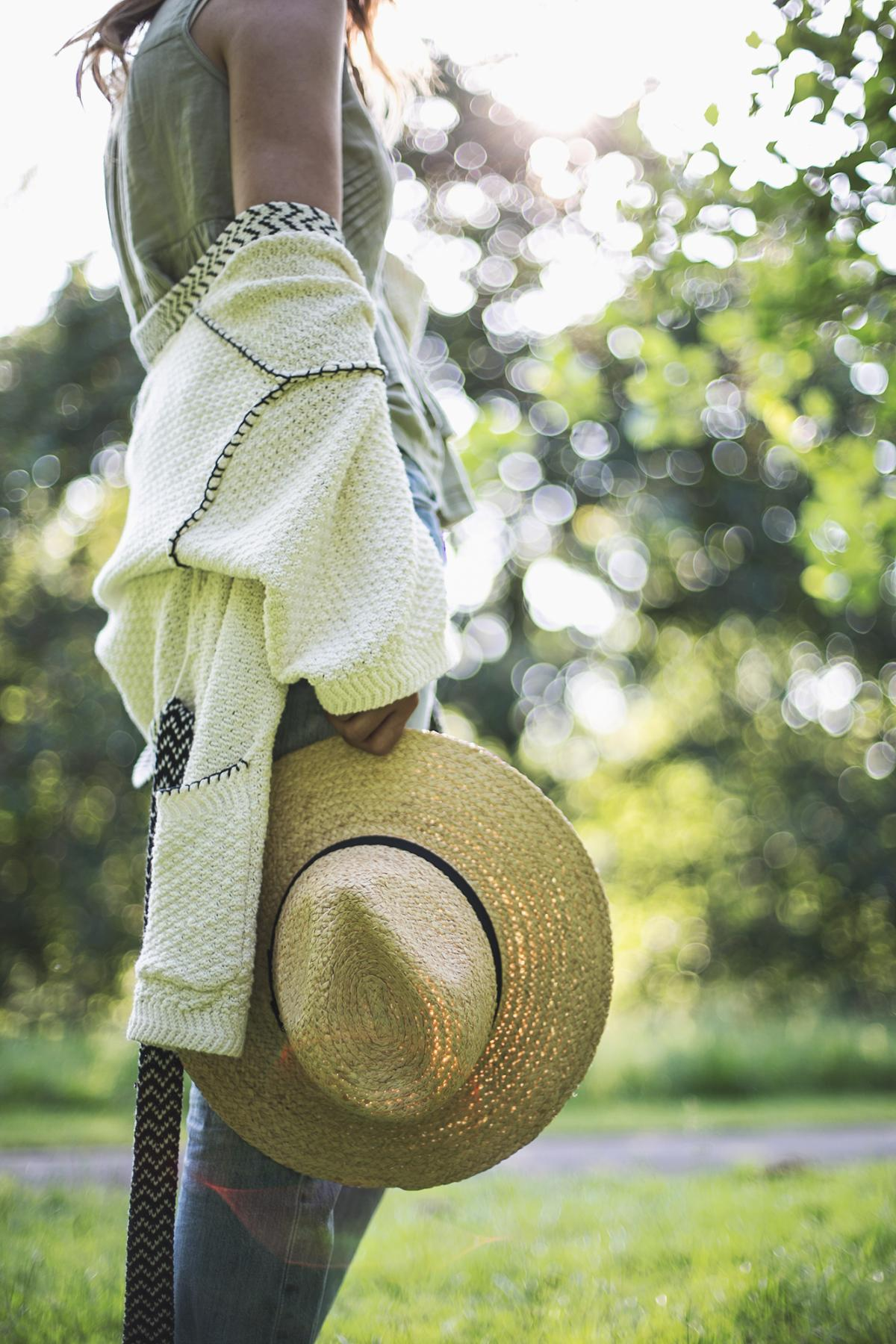 straw fedora hat, khaki top, belted cardigan, summer outfit, casual