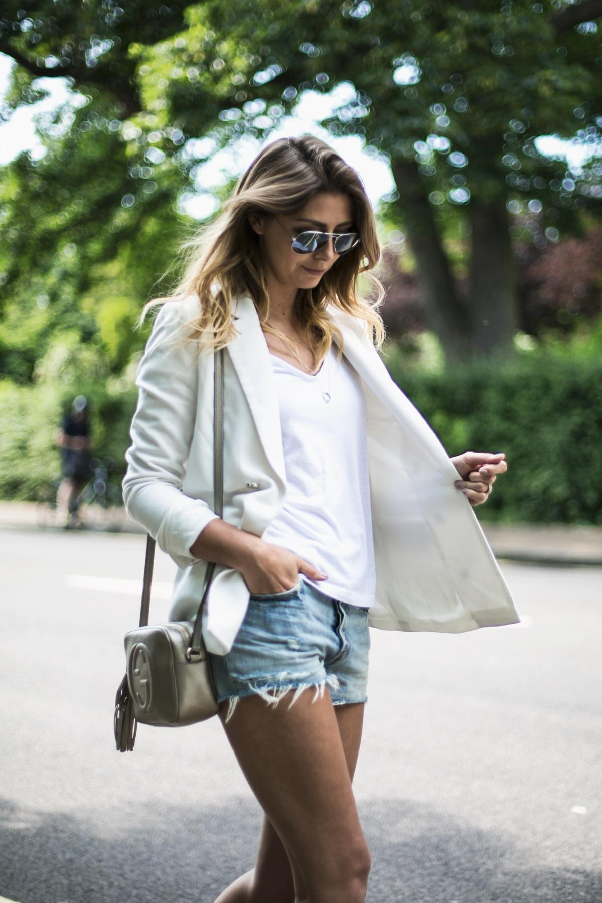 white blazer, basic v neck t-shirt, levis cut offs denim shorts, gucci soho disco bag, summer outfit