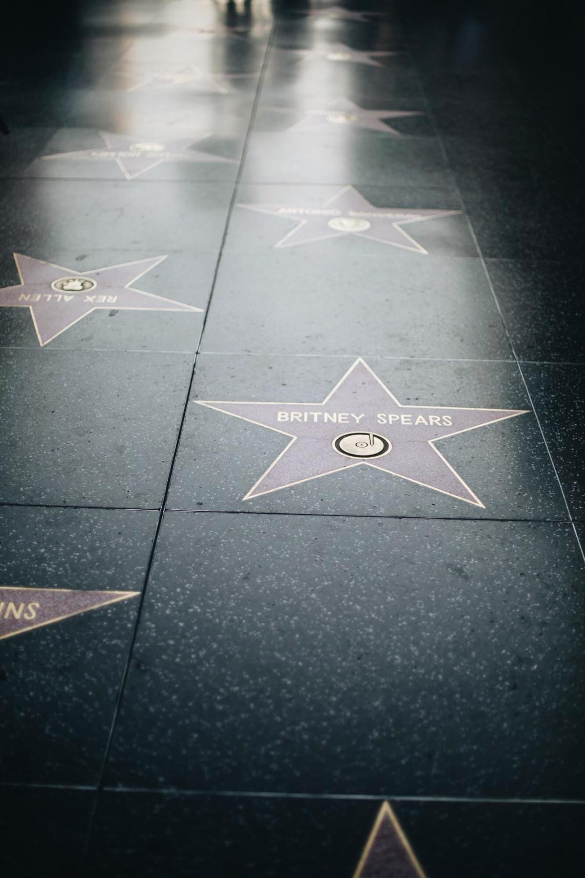 hollywood walk of fame, stars, Britney Spears, travel, must see,