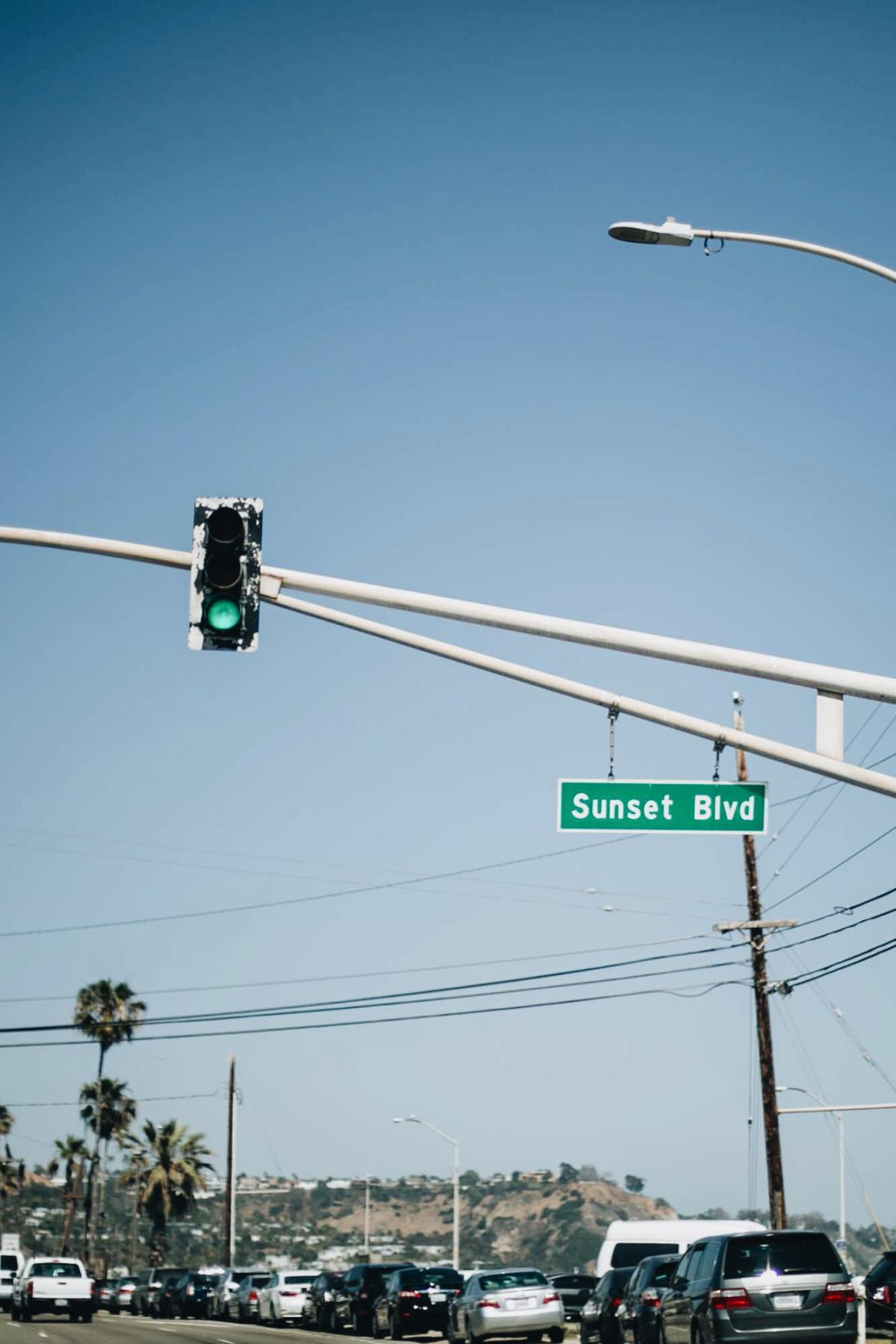 sunset blvd street sign, USA, los angeles, LA, american road trip, wanderlust, west cost,