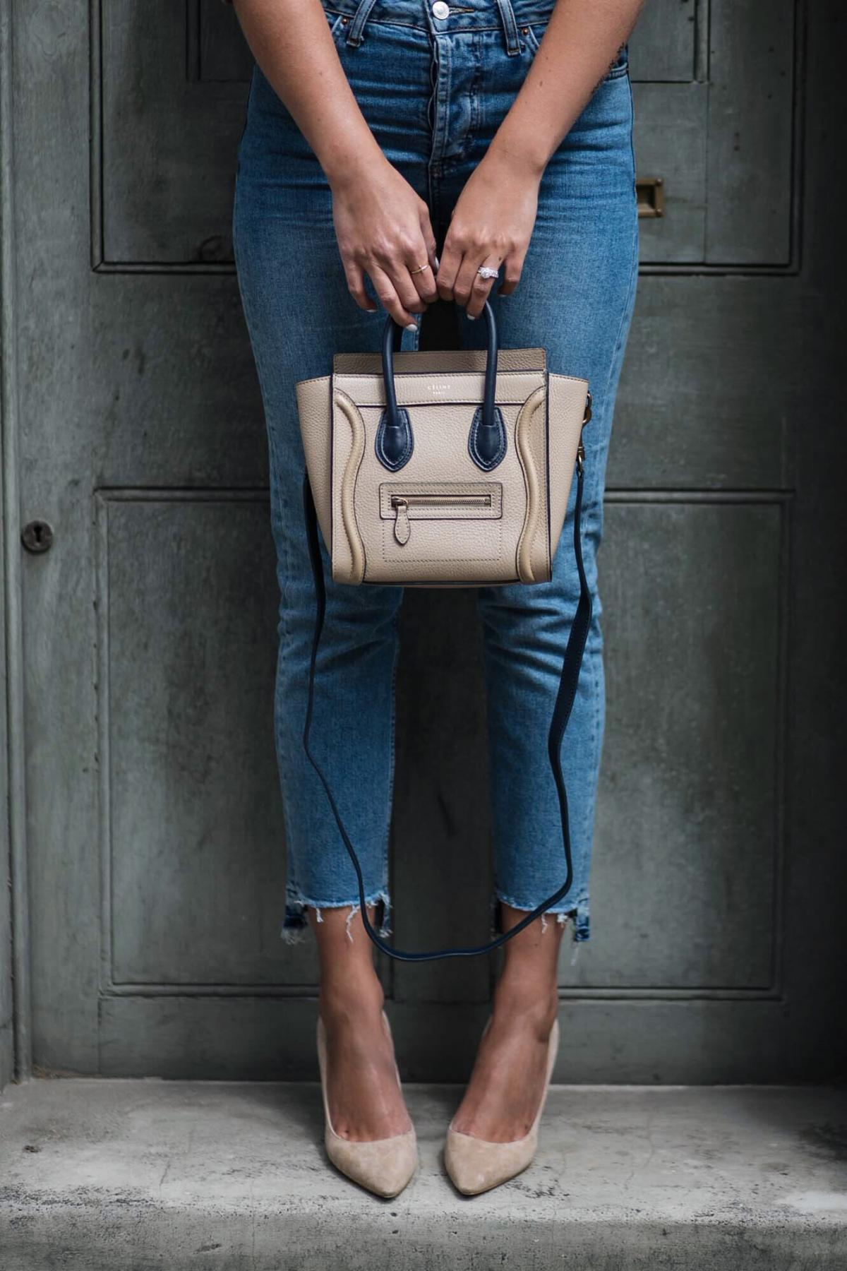 straight leg stepped hem jeans, celine nano bag, jimmy choo romy court shoes beige suede