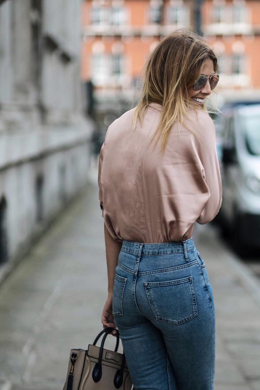 satin shirt, aviator sunglasses, jeans