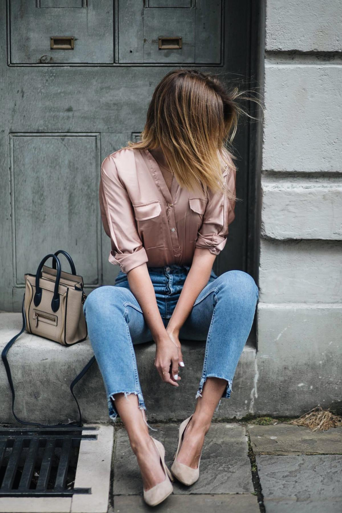 Satin shirt, straight leg stepped hem jeans, celine nano bag, jimmy choo romy court shoes beige suede, date night outfit, chic