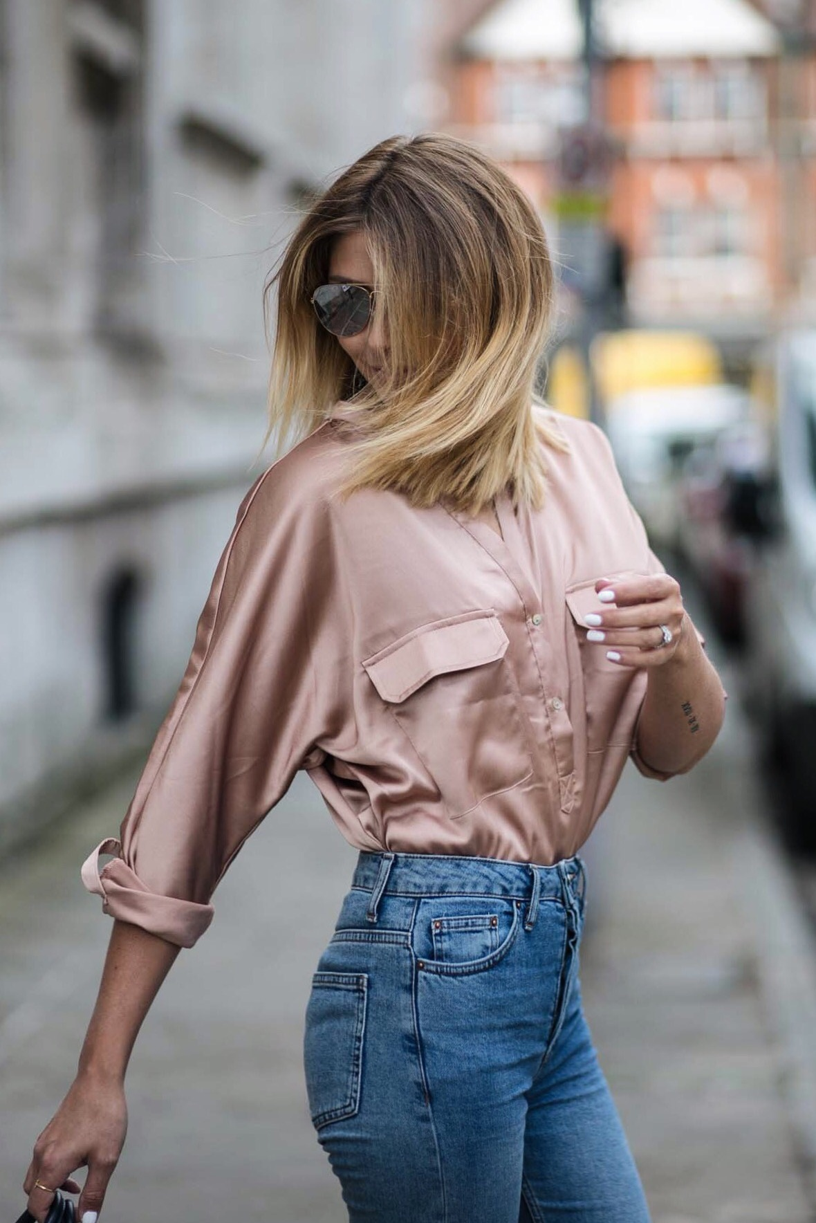 rose gold satin shirt, light wash jeans