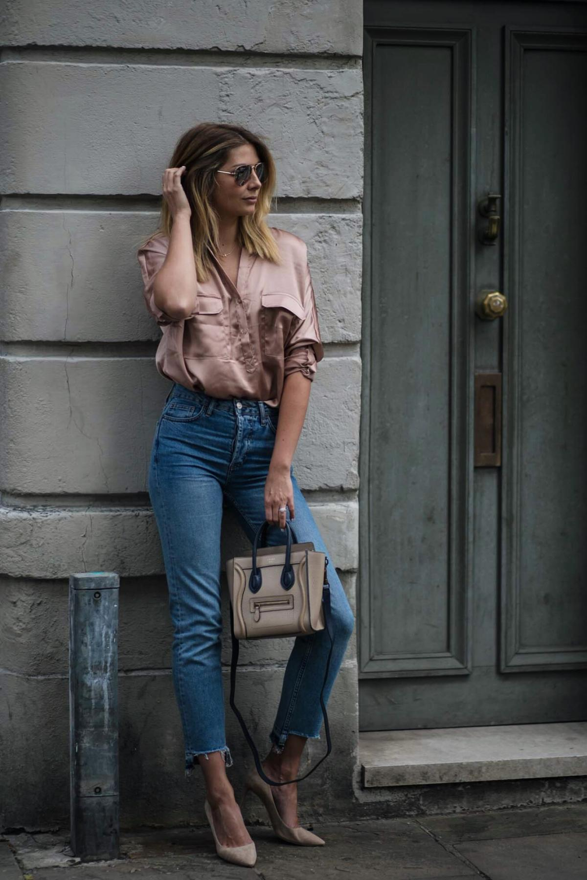 Satin shirt, straight leg stepped hem jeans, celine nano bag, jimmy choo romy court shoes beige suede, date night outfit ideas
