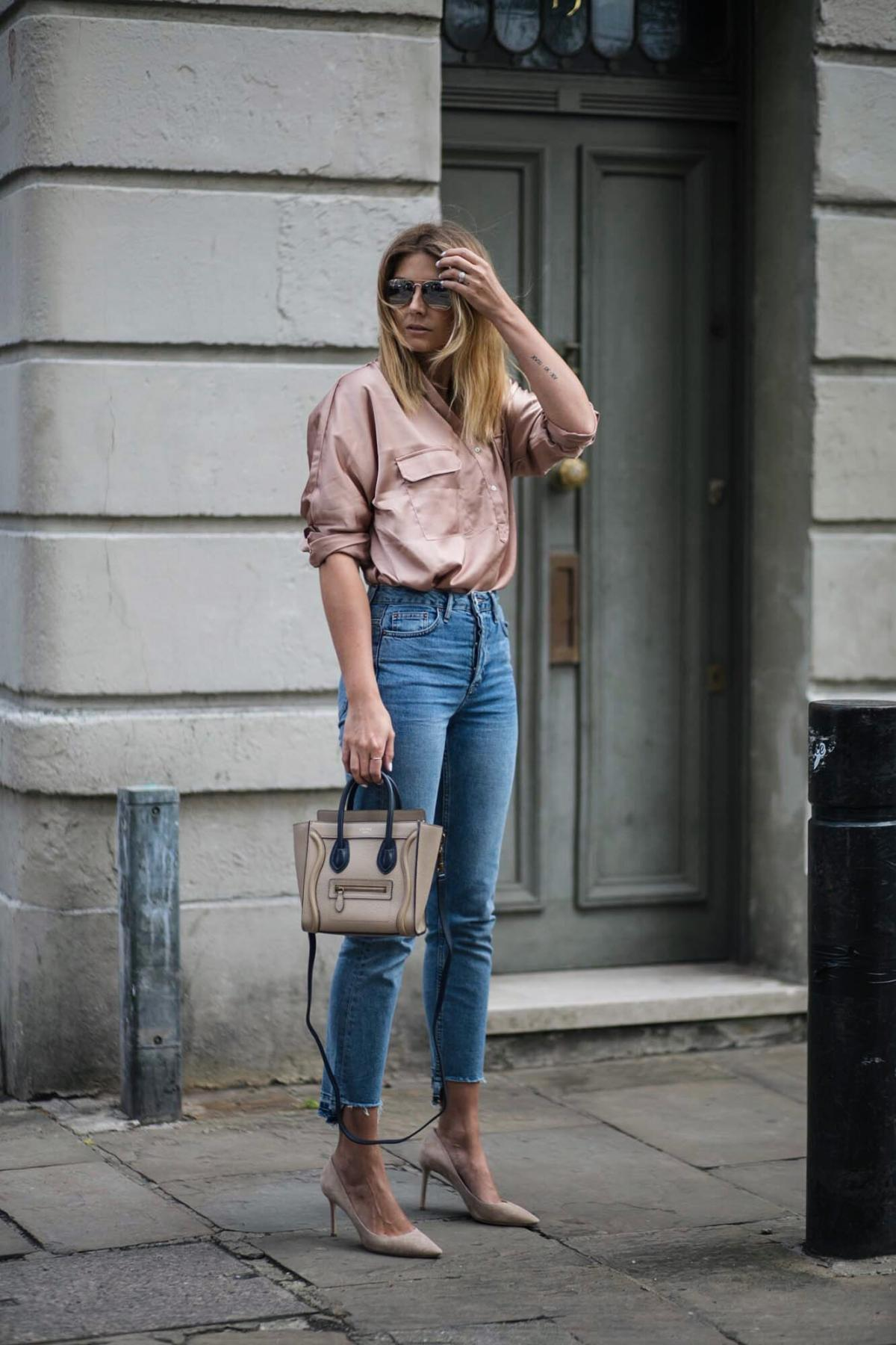 Satin shirt, straight leg stepped hem jeans, celine nano bag, jimmy choo romy court shoes beige suede, date night outfit