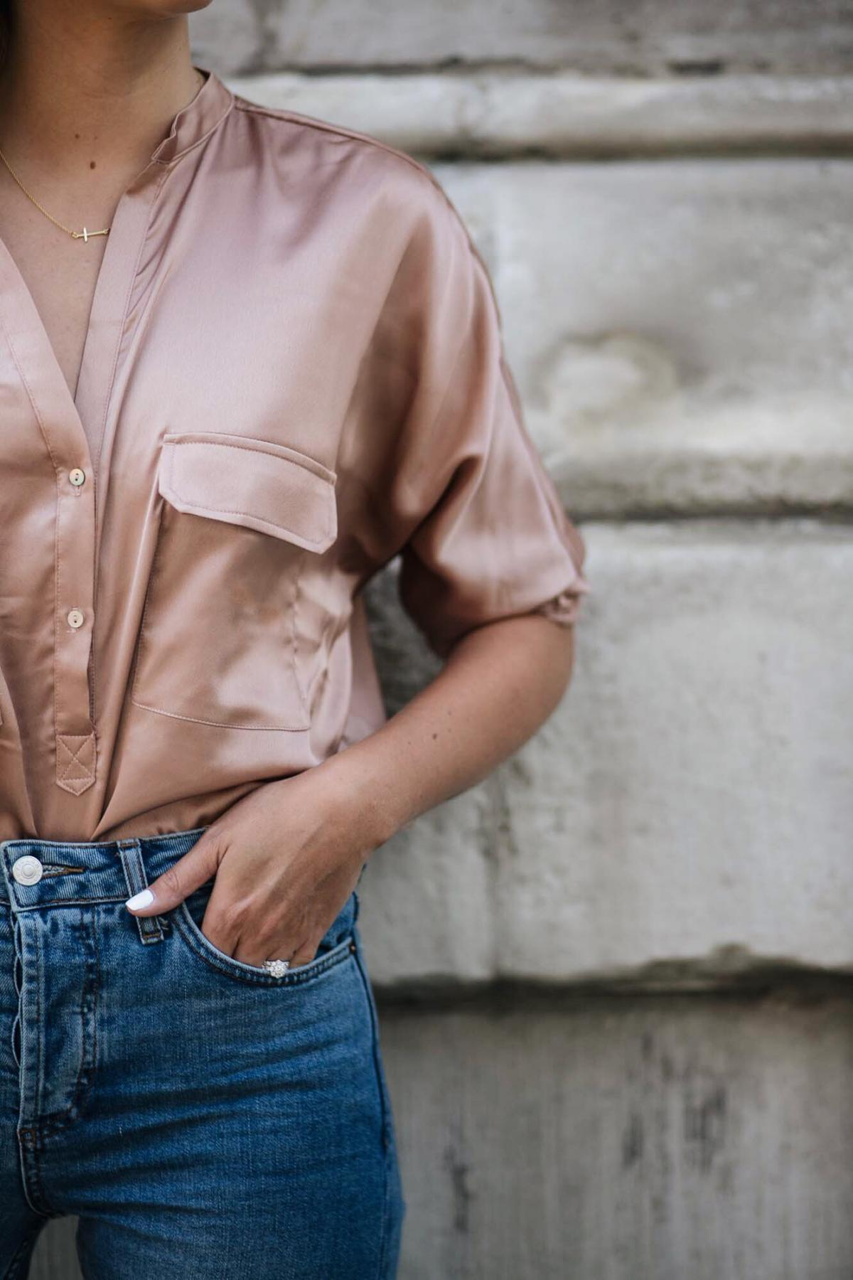 satin shirt, gold cross necklace, light wash denim jeans, white nails, date night outfit