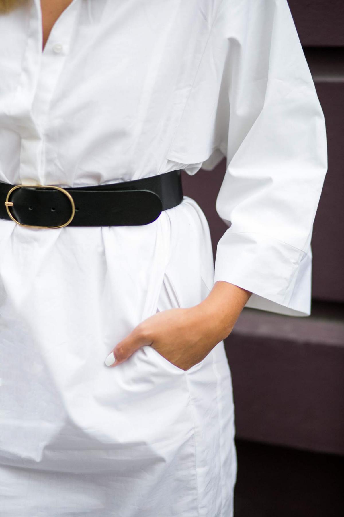 white shirt dress, black belt gold buckle